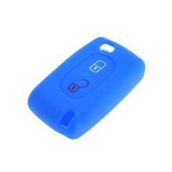 Schlüsselhülle Peugeot- 2 Tasten - Material Weichgummimaterial - Farbe Dunkelblau