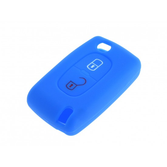 Schlüsselhülle Fiat- 2 Tasten - Material Weichgummimaterial - Farbe Dunkelblau
