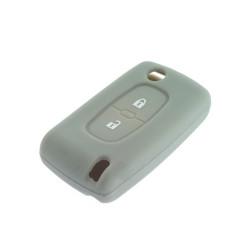 Schlüsselhülle Peugeot- 2 Tasten - Material Weichgummimaterial - Farbe GRAU