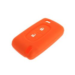 Schlüsselhülle Peugeot- 2 Tasten - Material Weichgummimaterial - Farbe ORANGE