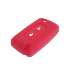 Schlüsselhülle Peugeot- 2 Tasten - Material Weichgummimaterial - Farbe ROT