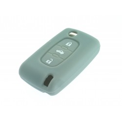 Schlüsselhülle Citroen- 3 Tasten - Material Weichgummimaterial - Farbe Grau