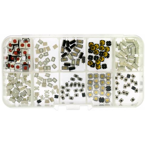 Box mit 100 Drucktaster für die Reparatur von Fernbedienugen von Autoschlüssel