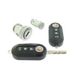 Abarth Schlossset mit 2 gefräßte Schlüssel - 434 Mhz - ID46 Transponder Chip - Delphi - Schlüsselblatt  SIP22  - OEM Produkt
