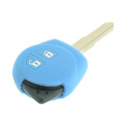 Schlüsselhülle Suzuki- 2 Tasten - Material Weichgummimaterial - Farbe Lichtblau