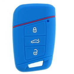 Schlüsselhülle für Seat - 3 Tasten - keyless Modelle - Material Weichgummimaterial - Farbe dunkelblau - After Market Produkt