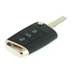 MQB Klappschlüssel für Skoda - 3 Tasten -  434 Mhz - Full Keyless - 5E0959752 - Schlüsselblatt HU66 - OEM Produkt